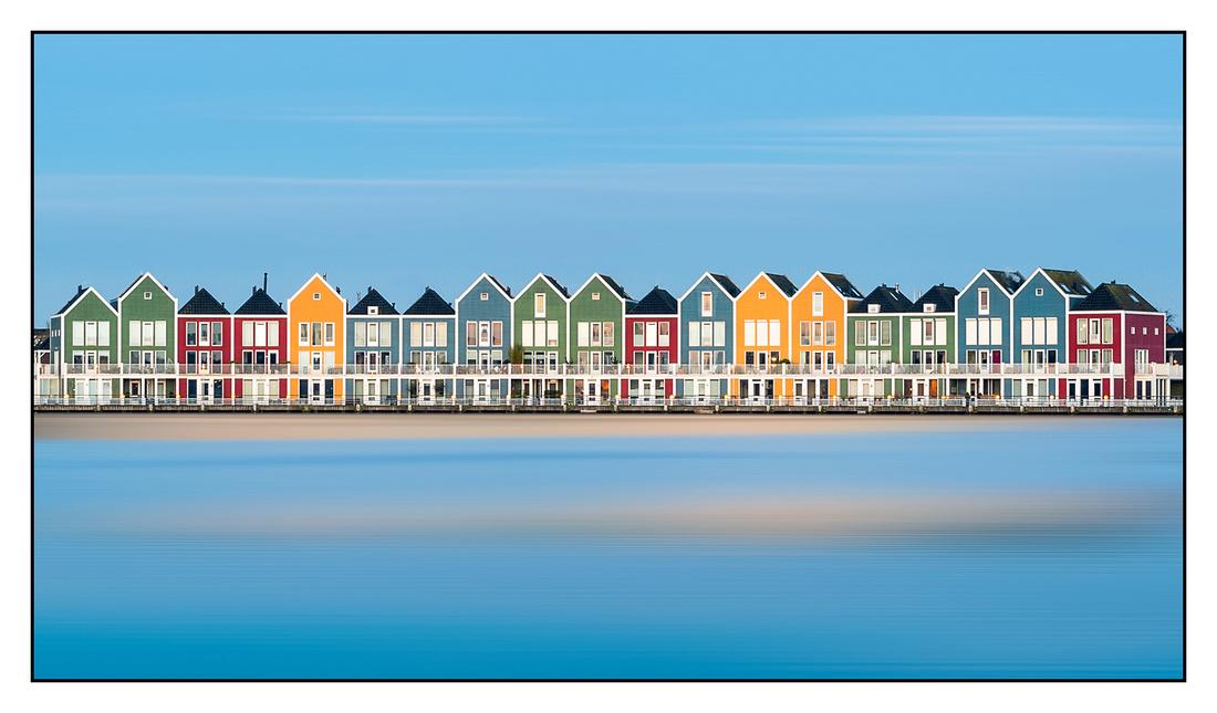 Houten coloured houses at sunrise 1